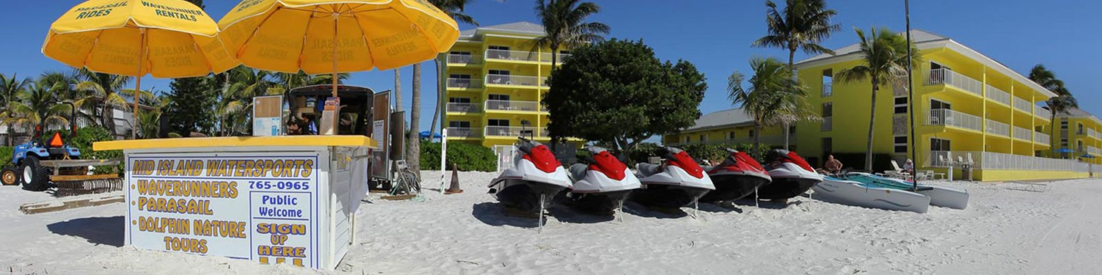 Rent water craft and waverunners on our private beach at Sandpiper Gulf Resort.